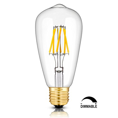 TAMAYKIM ST64 6W Dimmable Edison Style Vintage LED Filament Light Bulb, 4000K Neutral White 650LM, E27 Base Lamp, 65W…
