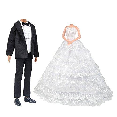 High Monster Puppen Männlichen (Barbie Puppen Hochzeit Set, Schöne Braut Kleid mit Schleier und Bräutigam Formal Outfit Business)