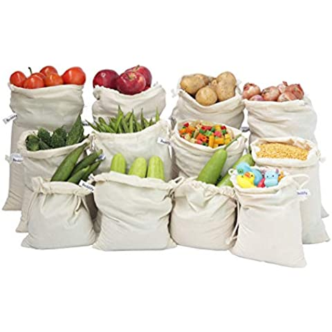 Beddify 100% Cotton Set of 12 Reusable Fridge Storage Bags for Vegetables and Fruits Premium Quality Multipurpose Eco Friendly Bags (4 Large, 4 Medium & 4 Small Size Bags)