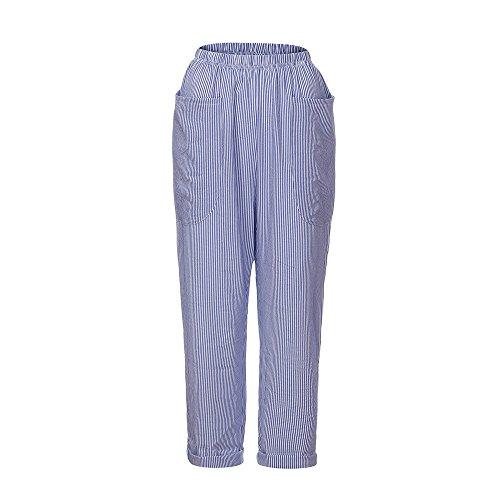 YWLINK Damen Kleidung,Frauen Hohe Taille Vintage Gestreifte Lose Baumwolle Leinen Lange GroßE Tasche Hosen Pluderhosen