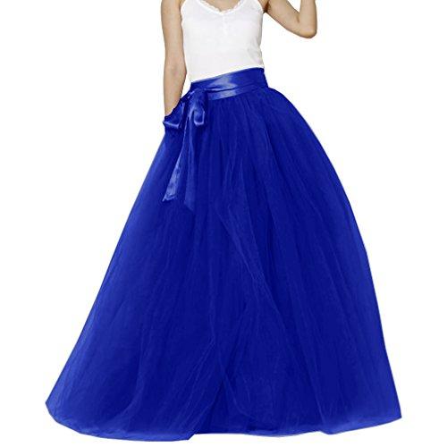 Matrimonio Donna pavimento lunghezza tulle sposa gonna con fiocco Royal Blue