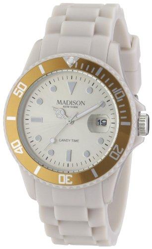 Madison New York SU4167C - Reloj analógico de cuarzo unisex con correa de silicona, color beige