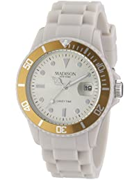 Madison New York - SU4167C - Montre Mixte - Quartz Analogique - Cadran Argent - Bracelet Silicone Beige