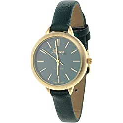 Women's Geneva Japanese Movement Stainless Steel Back Green Faux Leather Slim Band Watch