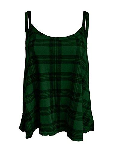 Islander Fashions Womens �rmellos Riemchen Plain Swing Cami Weste Damen Fancy Plus Size Top Shirt Hund Zahn EU 52-54 (Hunde T-shirt Plain)