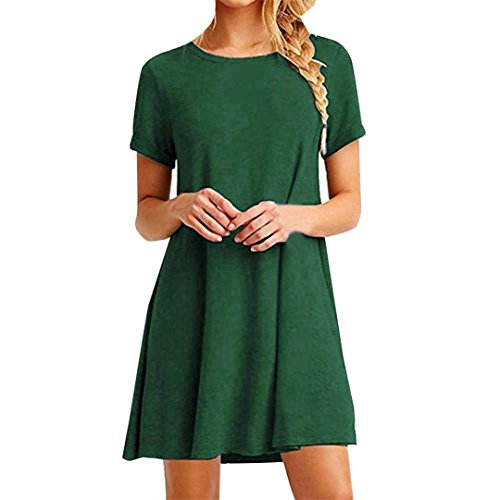 FEITONG Mujer Suelto Casual Cuello redondo Mangas cortas Volantes Mini vestido (Verde, M)