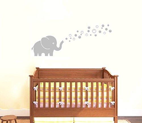 Einen süßen Elefanten Wand Aufkleber Blasen Machen Vinyl Wand Aufkleber Aufkleber für Kindergärten Kinderzimmer Dekoration(grau) (Vinyl-wand-aufkleber-elefant)