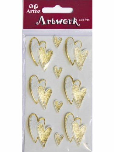"""Artoz Artwork 3D Motiv-Sticker 185560-28,\""""Goldene Herzen\"""", handmade(1)"""