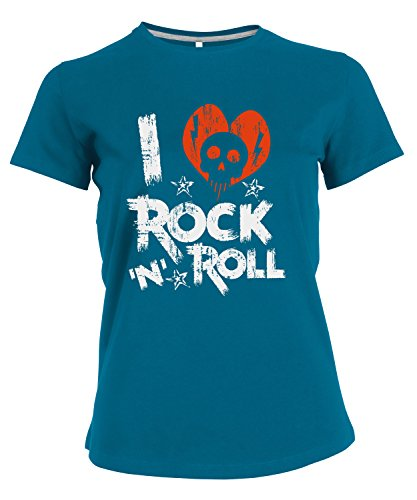 makato Damen T-Shirt mit Nackenband und Motiv Rock and Roll Blau Tropical Blue XXL