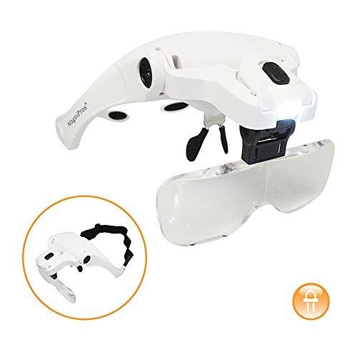 MagniPros See Things Differently Magnipros Led Beleuchtete Kopflupe Visier Mit Bonus Reinigungstuch und 5 abnehmbare Objektive 1X, 1,5X, 2X, 2.5X 3.5X Weiß -
