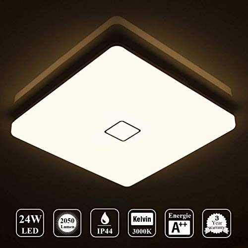 Öuesen 24W Wasserdichte LED Deckenleuchte Moderne ultradünne quadratische Unterputz LED Deckenleuchte Warmweiß 3000K für Badezimmer Schlafzimmer Küche Wohnzimmer Korridor Esszimmer Balkon - Schlafzimmer Küche