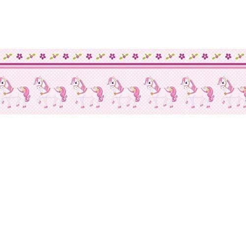 Livingstyle & Wanddesign Vlies Bordüre selbstklebend fürs Kinderzimmer Wandtattoo Pferd