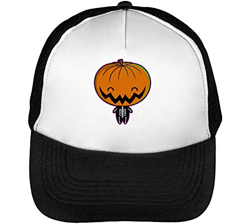 Halloween Happy Skeleton Pumpkin Men's Baseball Trucker Cap Hat Snapback Black White