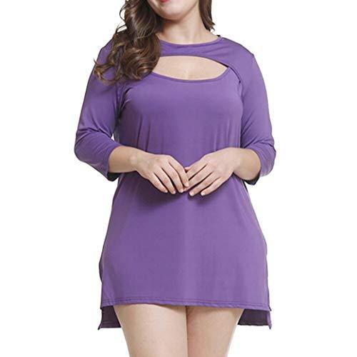 Zarupeng Damen Casual Bluse Plus-Size Patchwork Einfarbig T-Shirt Top Große Größe Tunika mit Rundhalsausschnitt