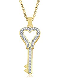 "Silvernshine 1.35 Ct D/VVS1 Diamond Heart Key Pendant 18"" Chain Necklace In 14K Yellow Gold Fn"