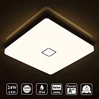 Öuesen LED 24W lámpara de techo resistente al agua moderna LED luz de techo cuadrada delgada 2050lm Blanco cálido 3000K para baño Dormitorio Cocina Sala de estar Comedor Balcón Pasillo