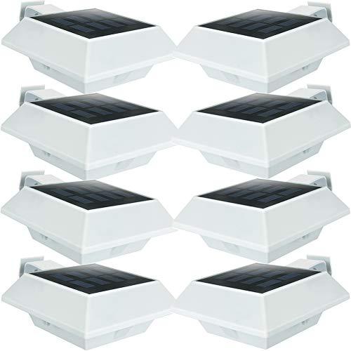 UniqueFire Luces Solares LED, 6 LED Luz de Solar de pared Blanco Cálido,Lámpara solares Exterior,Impermeable Luz Solar,Iluminacion solar de Caminos,Seguridad,para Pared,Escaleras (8 Packs )