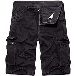 Solike Homme Militaire Short de Loisir Travail Casual Shorts Bermudas Cargo Outdoor Coton Casual Lâche avec Poches Short de Sport Court Pantalon de Plage (FR 36(Taille Fabricants 29), Noir-1)