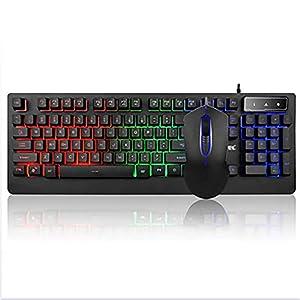 WXGZS Gaming-Tastatur/Maus-Set, Regenbogen LED-Hintergrundbeleuchtung USB Verdrahtete Tastatur/Maus-Set 19-Taste Anti-Ghosting Leicht Zu Laptop-PC Verbinden