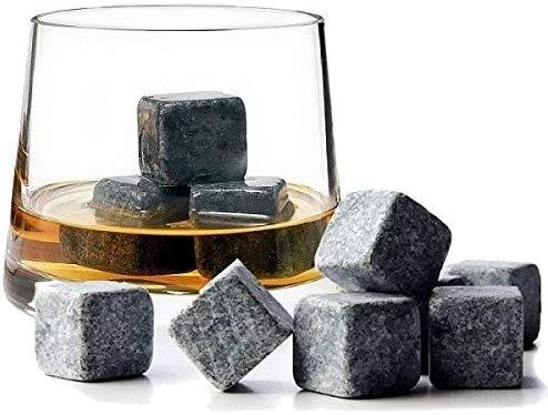 TopbrewingTM Granite Pierres Whiskey ✰ 9 Réutilisable Refroidissement Whisky Glace Cubes avec Gratuit Velours Pochette ✰ Chills Votre Boisson Boisson sans Diluant ✰