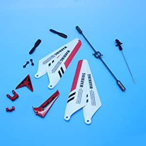 EiioX Full Replacement Parts Set for Syma S107 / S107G RC Helicopter, Main Blades,Tail Decorations,Tail blade,Balance Bar,Connect Buckle, Inner Shaft. Red Set-