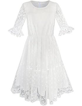 Sunny Fashion Vestito Bambina Fiore via Bianco Pizzo Matrimonio Pageant Partito 5-10 anni