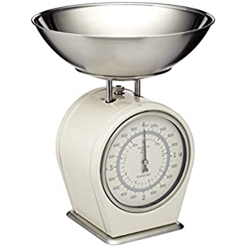 KitchenCraft Living Nostalgia Mechanical Kitchen Scales, 4 Kg (8 Lbs)    Antique Cream
