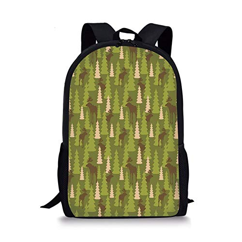 School Bags Deer,Animals in The Forrest Mooses and Pine Trees Pattern Canada Foliage Mammal Design,Green Tan Brown for Boys&Girls Mens Sport Daypack