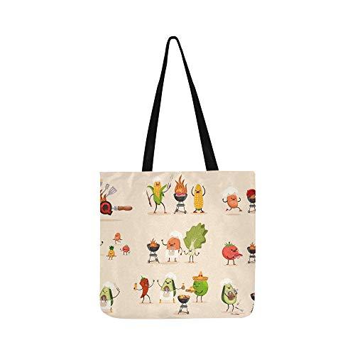 Grill Obst Gemüse Set Bbq Leinwand Tote Handtasche Schultertasche Crossbody Taschen Geldbörsen Für Männer Und Frauen Einkaufstasche -
