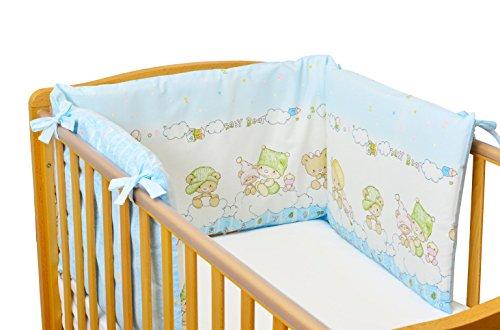 Hochwertige Sei Design Nestchen 36x180, gefüllt mit weichem Polyestervlies und mit integriertem Reißverschluss ausgestattet. Passend zu Kinderbettwäsche Bettset Baby Bär (Nestchen, Baby Bär blau)
