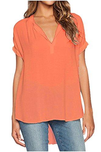 f14fcc9bbda892 Fanmay Chiffon Damen T-shirt vorne Kurz Hinten Lang Kurz ärmel V-Ausschnitt  Art Elegant Top Tops La.