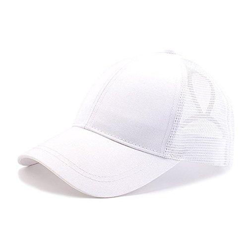 Weiß Mesh Cap (UMIPUBO Mesh Baseball Cap für Damen Basecap Outdoor Sport Mütze Lässig Baseballkappe Nettokappe Schachtelhalm Baseballmütze (Weiß))