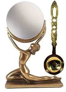 Worshiping the Moon : Nude Moon Art déco avec miroir Femme et Beuchamp Bronze et Laiton Lovespoon Coffret cadeau insolite