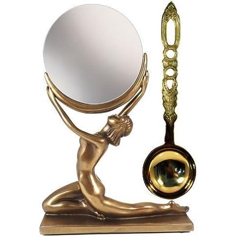 Adorare il Luna: Nude Luna Da signora e Specchio Arte Deco Beuchamp Bronzo Figura con Ottone Lovespoon Insolito regalo Set