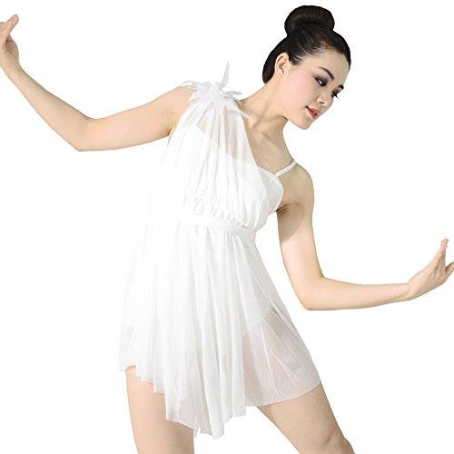 MiDee Mädchen Hemdchen, Oder So Was Blumen Diagonal-Neck Tanzen High-Low Kleid Latein Kostüm (Weiß, XSC)