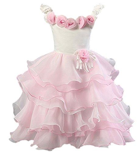 BELLA-Vestito Bambina di Cotone Misto Vestito Tutu Bambina Rosa Petto di 58cm