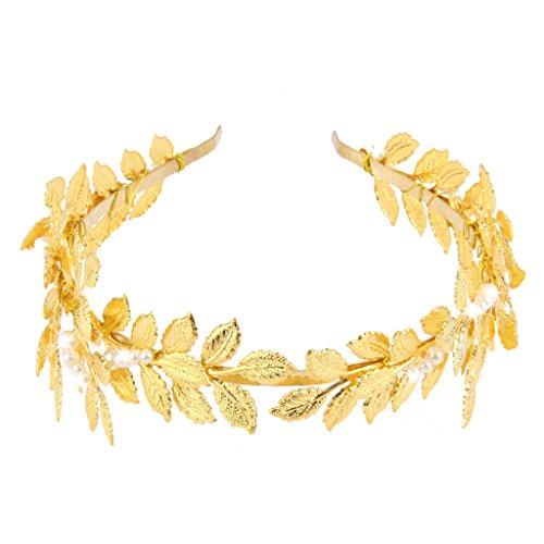 Perla Barroca De La Hoja De Metal De Oro Tiara Diadema Accessaries Del Pelo Nupcial