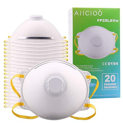 20 x Mascarillas Desechables con válvula Mascarillas Protectora FFP2 EN 149 contra la PM2.5 / Bacterias/Humos/Partículas Mascarillas Protectora Filtro