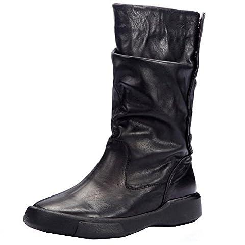 voguees Femme New Casual Bottes d'équitation en cuir avec boutons arrière - Noir - Plush Linings,