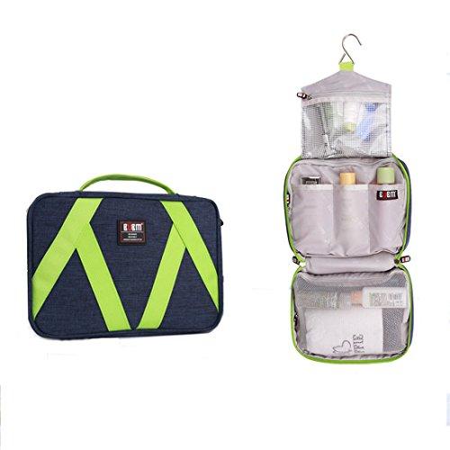 BUBM Bolsas de Aseo Neceser para Mujeres Bolsa de Maquillaje Para Colgar Plegable Organizador Funda Impermeable de Transporte con Asa (Azul)