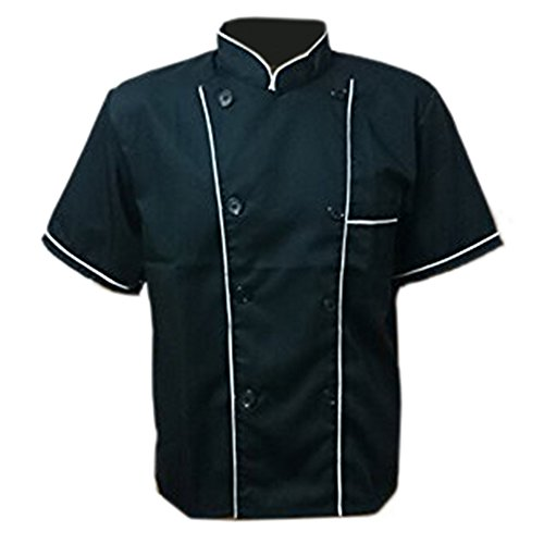 Erwachsene Männer Jungen Baumwolle Arbeitsanzug Arbeitsoveralls Kitchen Koch Kochen Ober Kellner Kellnerin Arbeit Kleidung Anzug Uniform kurzärmelig schwarz weißer Rand XL