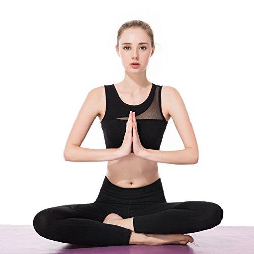 NiSeng Femme Sports 2 Pièces Ensemble Débardeurs Soutien-Gorge et Leggings Pantalon Gym Yoga Jogging Fitness Noir Soutien-Gorge+Noir Legging