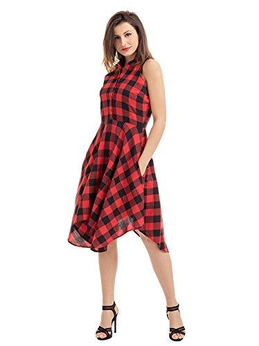 Minetom Damen Frauen Button Midi Shirt Kleid Kleider Ohne Arm Schwingen Asymmetrisch Bluse Kariert Plaid V-Ausschnitt Shirts Dress Sommerkleid Rot