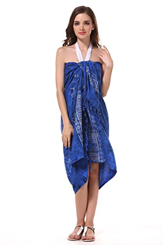 ManuMar Pareo/Telo mare, leggero, con frange, diverse misure, motivi e colori Dunkel-Blau Muschel