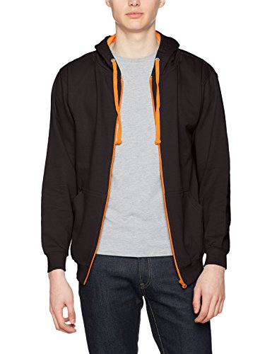 AWDis Herren Kapuzenpullover Varsity Zoodie Multicoloured (Jet Black/Orange Crush)