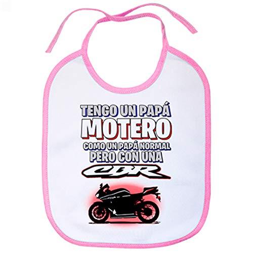 Babero tengo un papá motero moto CBR - Rosa