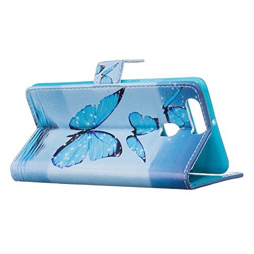 Cozy Hut Schutzhülle / Cover / Hülle / Handyhülle / Etui für Huawei P9 Bunt Muster Design Folio PU Leder Tasche Case Cover im Bookstyle mit Standfunktion Kredit Kartenfächer mit Weich TPU Innere - Tod Blue Butterfly