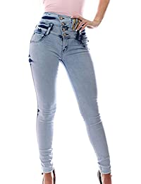 FARINA 1662 Denim pantalones, vaqueros de mujer, Push up/Levanta cola, pantalones vaqueros elasticos colombian,color azul cralo,talla 34-48/XS-3XL