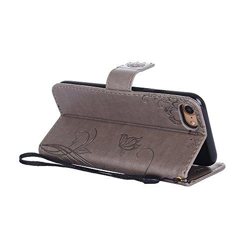 Custodia in pelle per iPhone 7 Cover, Zcro Stile Elegante di Cuoio Magnetica Flip del Libro Fiori Farfalla Custodia Portafoglio Case con Titolare della Carta Cinturino Nero Gratuito Penna Stilo per iP Grigio