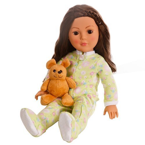 18 Inch Doll Soft Green Footed Heart Pajamas and Teddy Bear | Clothes Fit American Girl Dolls | Onesie Style. Gift-boxed! by Emily Rose Doll Clothes
